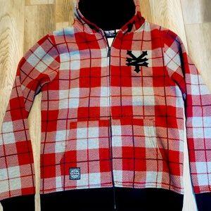 92$ Brand new Zoo York zip up red gray hoodie